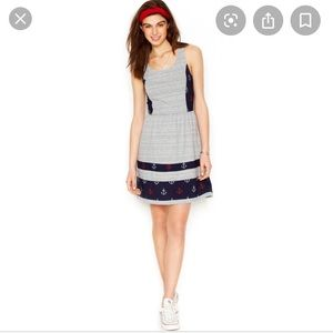 Maison Jules Nautical Anchor Striped Print Dress